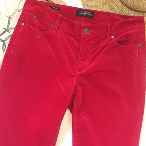 Talbots Flawless Five Pocket Red Velour